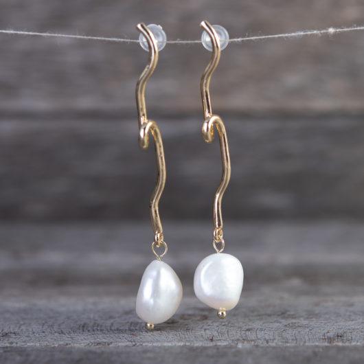 Vine Loop Drop Pearl Earrings - Gold