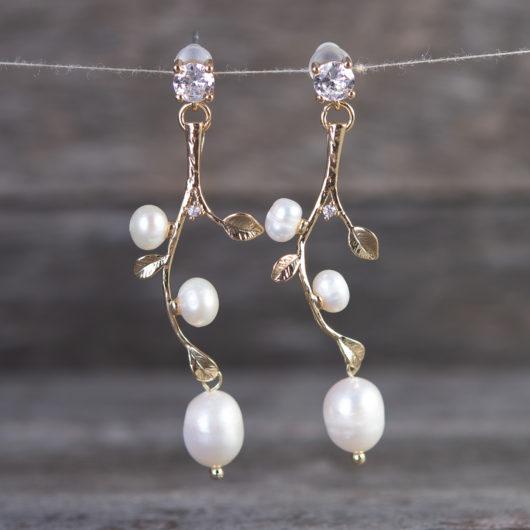 Vine Leaves Drop Pearl Earrings - Gold