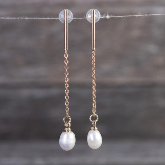 Solitaire Drop Long Earrings - Gold