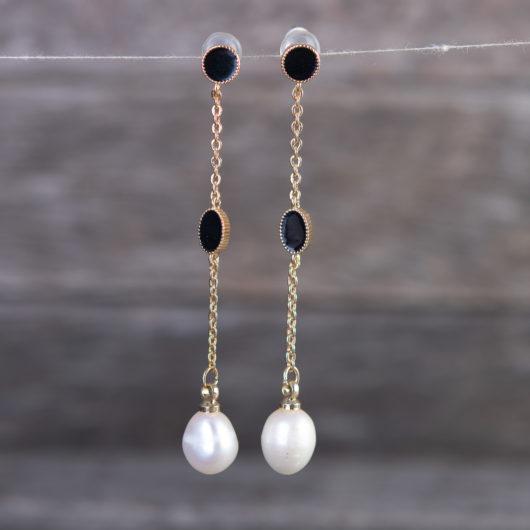 Black Enameled Drop Long Pearl Earrings - Gold