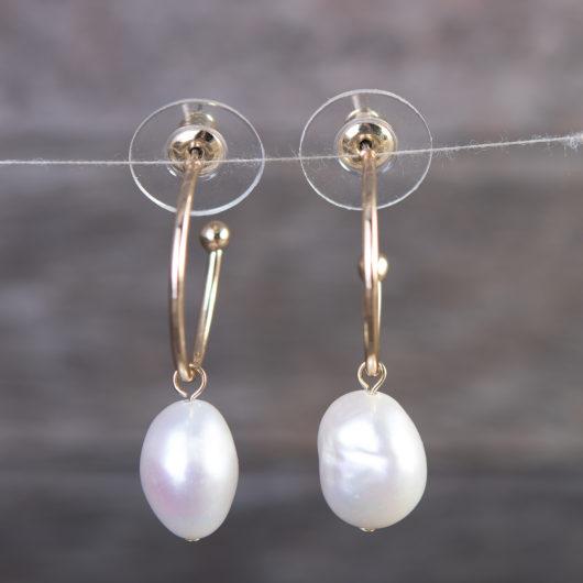 Solitaire Pearl Ear Hugger Earrings - Gold