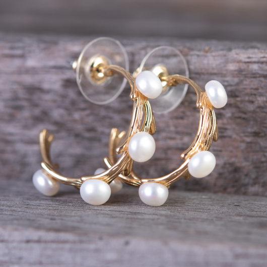Vine Pearl Ear Hugger Earrings - Gold