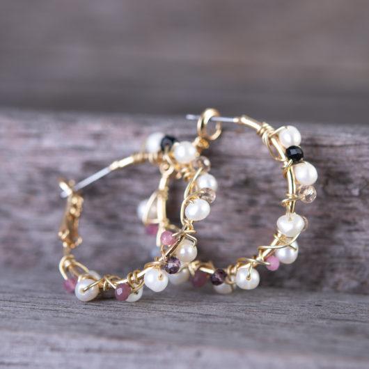 Multi Wrapped Pearl Ear Hugger Earrings - Gold