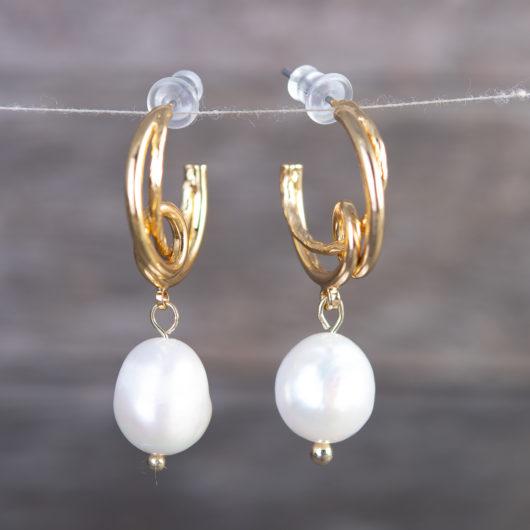 Vine Loop Pearl Ear Hugger Earrings - Gold