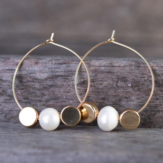 Double Disc Pearl Hoop Earrings - Gold