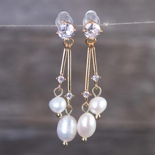 Double Pearl Crystal Drop Earrings - Gold