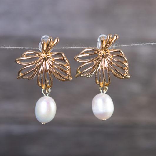 Leaf Pearl Drop Earrings - Gold