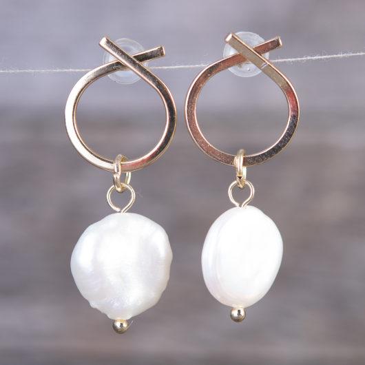 Crossed Hoop Pearl Drop Earrings - Gold