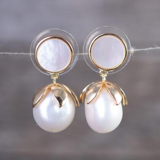Petaled Pearl Drop Earrings - Gold