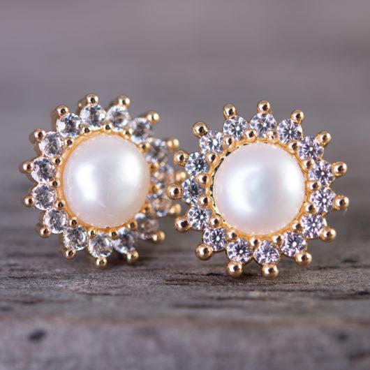 Starburst Pearl Stud Earrings - Silver