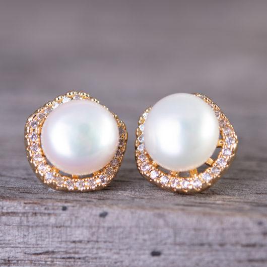Pentagon Halo Pearl Stud Earrings - Gold
