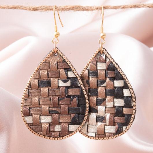 Woven Leather Teardrop Earring - Brown