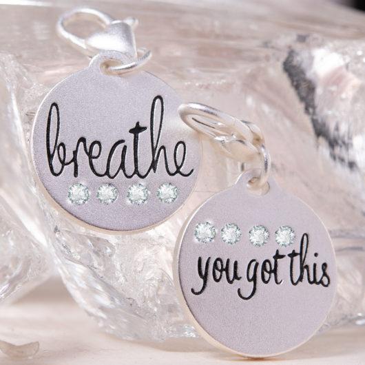Silver 1-Tone Medallion - Breathe