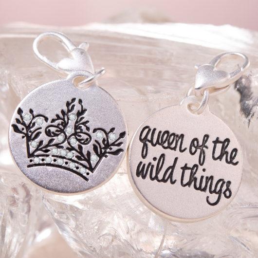 Silver 1-Tone Medallion - Wild Crown