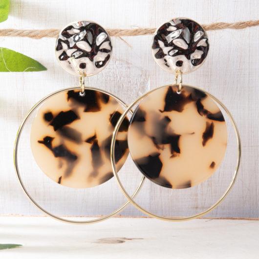 Halo Double Drop Earrings - Brown