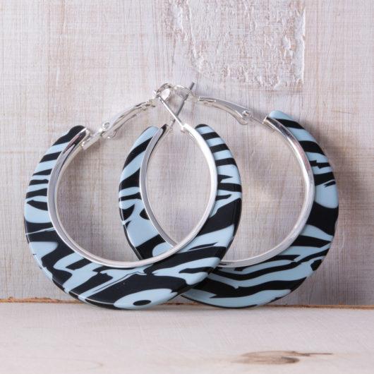 Edge Hoop Earrings - Blue Zebra