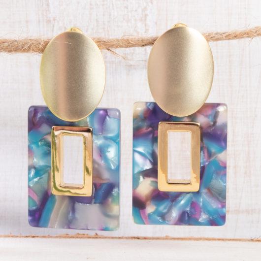 Open Square Earrings - Peacock