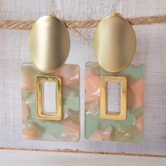 Open Square Earrings - Pink/Green