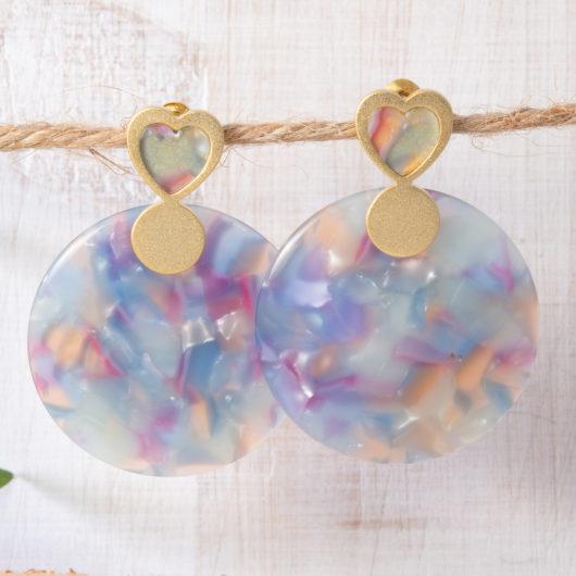 Heart Circle Drop Earrings - Aqua/Pink