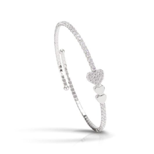 Triple Heart Single Spiral Bracelet - Rhodium