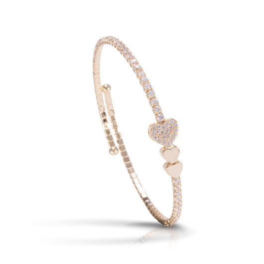 Triple Heart Single Spiral Bracelet - Gold