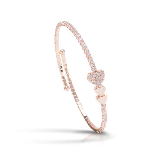 Triple Heart Single Spiral Bracelet - Rosegold