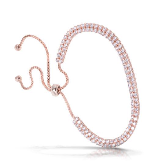 Double Tennis Pull-Cord Bracelet - Rosegold