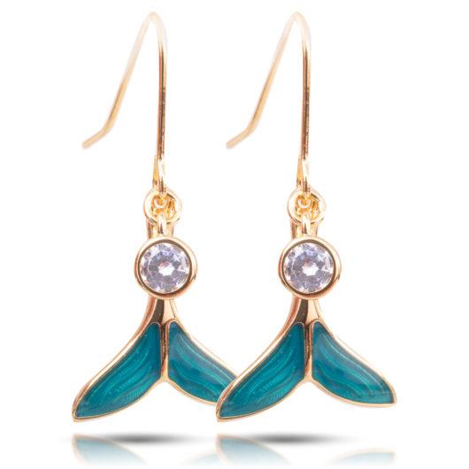 Whale Tail Enamel Earrings - Gold