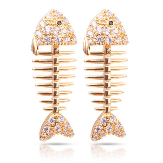 Fish Bone Earrings - Gold