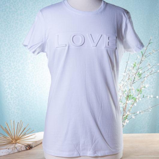 Amanda Blu Embossed T-Shirt, Love White