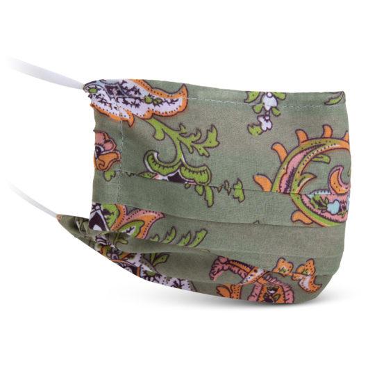 Fabric Mask - Green/Coral Paisley